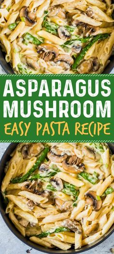 This asparagus mushroom pasta recipe is simple, tasty, comforting and awesome. A perfect easy dinner recipe and easy pasta recipe. #pasta #pastarecipe #easyrecipes