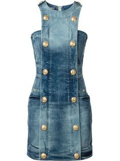Balmain double breasted denim dress gallery andorra farfetch com Denim Dresses Online, Fashion Dresses, Fashion Mode, Denim Fashion, Fashion Boots, Fashion Trends, Estilo Jeans, Balmain Dress, Mode Jeans