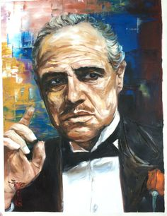 The Godfather Don Vito Corleone original painting on canvas, 18x24 inches large wall art
