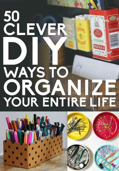 50 Clever DIY Ways To Organize Your Life - Some great, easy, affordable suggestions for organizing your crafts/craft room! Organisation Hacks, Storage Organization, Organizing Tips, Diy Storage, Creative Storage, Bathroom Organization, Do It Yourself Organization, Do It Yourself Baby, Diy Rangement