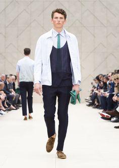 Chalkstripe cotton artist jacket, viridian green linen tie and bottle green nappa leather document wallet