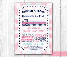 Pink Train Birthday Invitation. Girl Train Party. DIY Printable Invite.