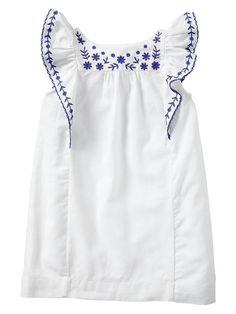 Embroidered Flutter Dress | White | Gap | £22.95