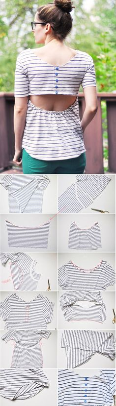 DIY: Open back T made from men's tshirt