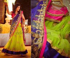 Parrot Green Zardosi Work Half Saree   Saree Blouse Patterns