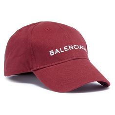 Balenciaga Logo embroidered baseball cap (19,330 PHP) ❤ liked on Polyvore featuring men's fashion, men's accessories, men's hats, red and mens red hats