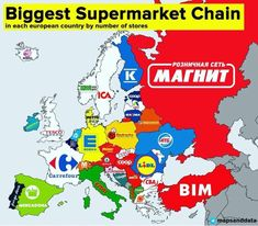 The biggest supermarket chains in each European country.