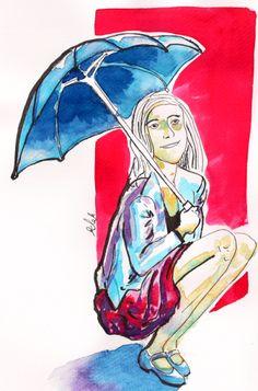 parasolka (watercolor, ink) akwarela i tusz