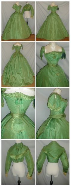 1860's green silk gown that comes with both a day and evening bodice. Ebay: fiddybee