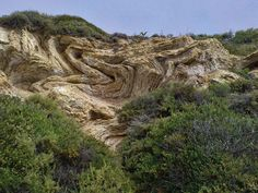 Is it geology, or a genuine work of art? Recumbent, chevron folds found at Crystal Cove State Park, near Laguna Beach, Calif.