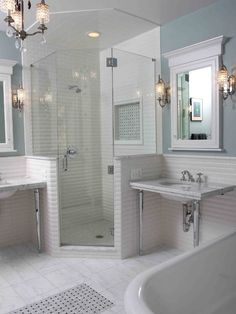 tile floor mat with matching inset in the shower.  large marble tiles.  Traditional Bathroom Design, Pictures, Remodel, Decor and Ideas - page 4