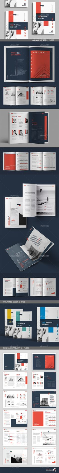 Annual Report Brochure Template InDesign INDD - 24 Custom Layout Pages, A4 and US Letter Size