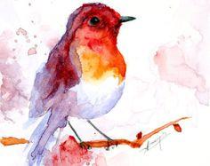 Aquarel schilderij van de aquarel vogel vogel kunst door PabloXart