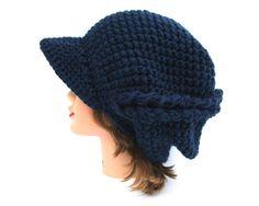 Crochet Newsboy Hat - Navy Blue Cap - Asymmetrical Hat - Brimmed Beanie - Hat With Brim - Slouchy Hat - Chunky Beanie - Crochet Accessories by BettyMarieJones on Etsy
