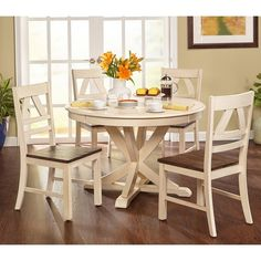 This Dining Set Features A Beautiful Clic Country Style With An Antique White Finish