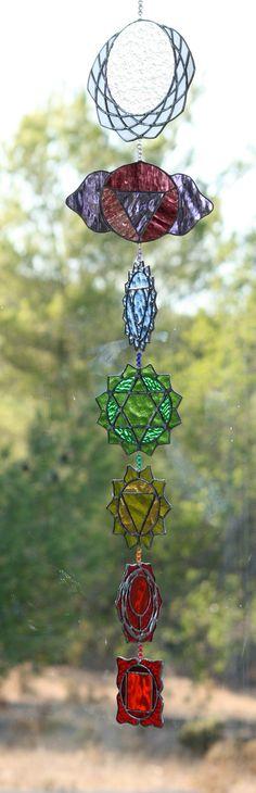 Sacred geometry Suncatcher Chakras stained glass Yoga on Etsy, $350.00