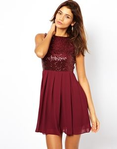 Image 1 of TFNC Babydoll Dress With Sequin Bodice