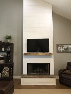 Shiplap Fireplace, Farmhouse Fireplace, Home Fireplace, Fireplace Remodel, Fireplace Design, Fireplace Ideas, Fireplace Makeovers, Stone Fireplaces, Plywood Furniture