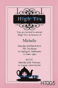 Burlap and Lace High Tea Invitation // Printable High Tea Bridal ...