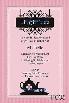 High Tea Party Invitation Party Invitations Pinterest Tea