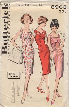 Butterick 8963 Misses 1960s Sleeveless Sheath Dress by CynicalGirl, $32.00