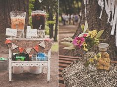 Bohemian Portland Park Wedding - Sangria at the Welcome Table.  :)