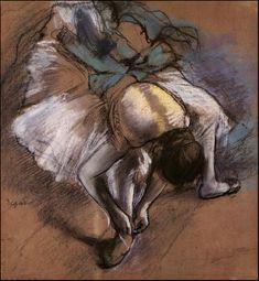 Dancer Adjusting Her Slipper - Edgar Degas
