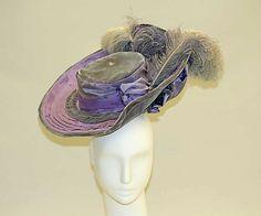 Hat    Date:      1905  Culture:      French  Medium:      silk, feathers  Dimensions:      Diameter: 16 in. (40.6 cm)