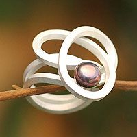 amazon knot cultured pearl cocktail ring. novica.