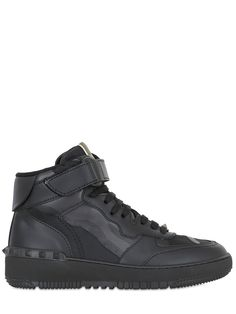 VALENTINO - ROCK BE LEATHER & CANVAS HI TOP SNEAKERS - LUISAVIAROMA - LUXURY SHOPPING WORLDWIDE SHIPPING - FLORENCE