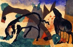 franz marc(1880-1916), two sheep, 1913. gouache, watercolor and collage on postcard, 9 x 14 cm. städtische galerie im lenbachhaus, munich, germany http://www.the-athenaeum.org/art/detail.php?ID=63613