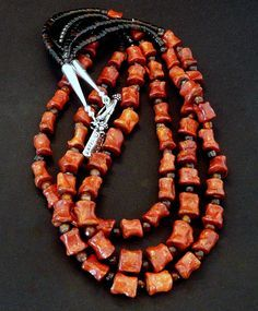 3-Strand Coral Large Nugget Necklace with Carnelian Rounds, Pen Shell Heishi & Sterling