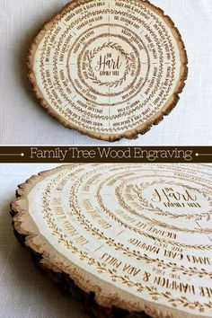What better way to display your family tree... than on a tree! Each genealogy chart is hand illustrated with love and engraved into a basswood wood slab. This personalized piece of art will become a family heirloom and a conversation starter for any home. #Ancestry #Genealogy #WoodDecor #RusticDecor #ad #Personalized #GiftsForHer #MothersDay #FamilyTree family tree wood sign, family tree art, genealogy chart, mothers day gift, ancestry, wood burning, personalized, anniversary gift, custom