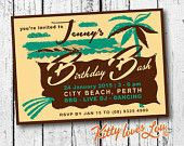 PRINTABLE BIRTHDAY Party Invitation Invite Digital PDF Retro Tropical Vintage Bridal Shower bachelorette luau Beach diy