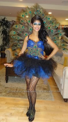 Beautiful DIY Woman's Peacock Costume... Coolest Halloween Costume Contest