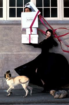 Beatrice Dalle & Azzedine Alaia in Paris 1988 photographed by Jean-Paul Goude//