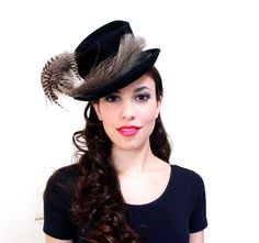 Vintage 1930s 1940s Tilt Hat  Black Felt Brimmed by MaejeanVINTAGE, $65.00