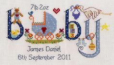 Baby Boy Birth Sampler Kit from Nia £18.95 - Past Impressions FREE UK DELIVERY