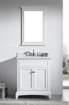 30 inch White Bathroom Vanity Set with White Carrera Marble Top