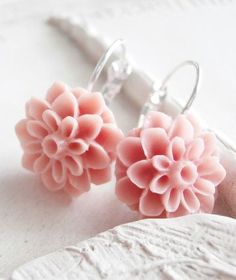 Resin Flower Earrings Pink Chrysanthemum Posts