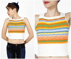 Vintage 1970s Colorful Cropped Sweater Vest Top by Saks Fifth Avenue | X-Small Small by AnimalHeadVintage on Etsy