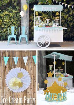 Ice Cream cart 1st birthday party via Kara's Party Ideas- www.KarasPartyIdeas.com Would be a cute baby shower, too!