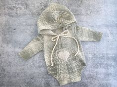 Newborn Boy Photo Outfit - Soft Gray and Ivory Hoodie Romper with Heart - Photo Prop - READY TO SHIP by wrenandwillowdesigns on Etsy