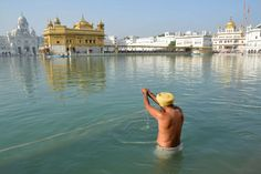 An Indian Sikh devotee takes a dip in the holy sarover (water tank) at the Golden Temple in Amritsar.