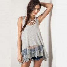 NWT Umgee Grey Lace Tank Super cute swing grey racer back tank! Never worn, loose fitting, runs large, and perfect for summer. Umgee Tops Tank Tops