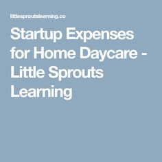 Startup Expenses for Home Daycare - Little Sprouts Learning