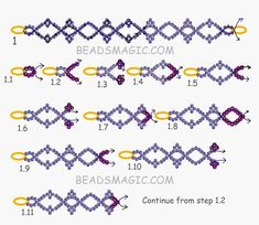 Free pattern for beaded bracelet Azora U need: seed beads Start with 2 needles Beaded Necklace Patterns, Seed Bead Patterns, Beading Patterns Free, Beading Tutorials, Free Pattern, Weaving Patterns, Bead Loom Bracelets, Dainty Bracelets, Bead Jewellery