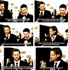 """[SET OF GIFS] """"9 seasons for Supernatural. What do you think it is?""""  Jared & Jensen red carpet interview #CriticsChoice2014"""