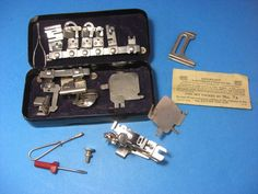 Greist+Rotary+Sewing+Machine+Attachments+in+Tin+Box+17+Feet+Domestic+White