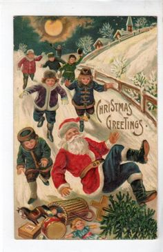 C560 Postcard Christmas Santa Claus  falls down snowy hill kids run for toys uk.picclick.com